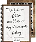 Schoolgirl Style Academic Teacher Planner—Undated Weekly/Monthly Plan Book, Industrial Chic Shiplap Lesson Planner and Organizer for Classroom or Homeschool (8.4