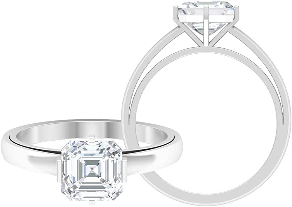 Asscher Cut Moissanite Engagement Rings, 1.58 CT D-VSSI Moissanite Solid Gold Rings, Unique Wedding Rings Set, Solitaire Statement Anniversary Rings, 14K Gold