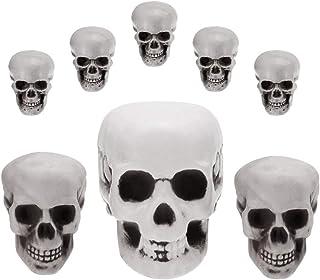 BUZIFU 8 Pcs Tête de Mort Plastique de 3 Tailles Crâne de Squelette Humain Réaliste pour Décoration Halloween Maison Table...