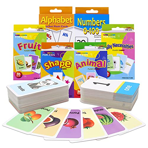 Conzy Flash Cards for Toddlers 2 3 4 5 6 Years, Sets of 6 - ABC Alphabet, Number, Shape and Color, Fruit, Animal, Necessities, Great Value Pack First Words Flash Cards for Kindergarten or Preschool