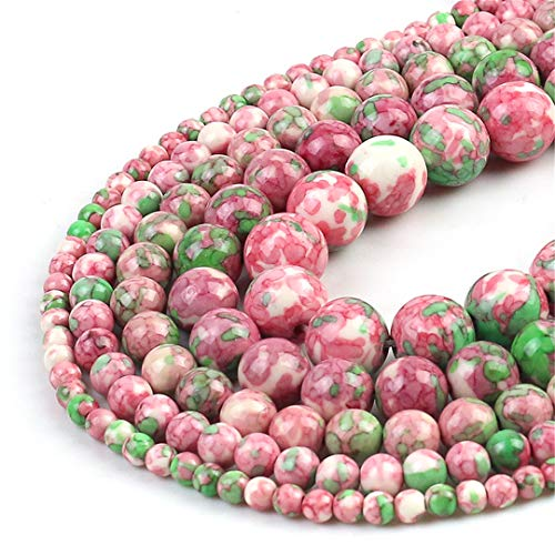 HUKGD Pink Green Spotted Lluvia Flower Beads Natural Redondo Redondo Perlas Espaciadoras para La JoyeríA DIY FabricacióN 4 6 8 10 Pulsera 12 mm Other 4mm 91pcs Beads