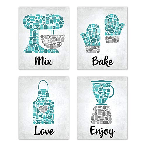 UNFRAMED Bake Mosaic Turquoise Teal Grey Retro Restaurant Utensil Food Wall Art Chef Baking Prints Posters Signs Sets Rustic Country Kitchen Decor Home House Decor Dining Room Sayings Quotes 8x10
