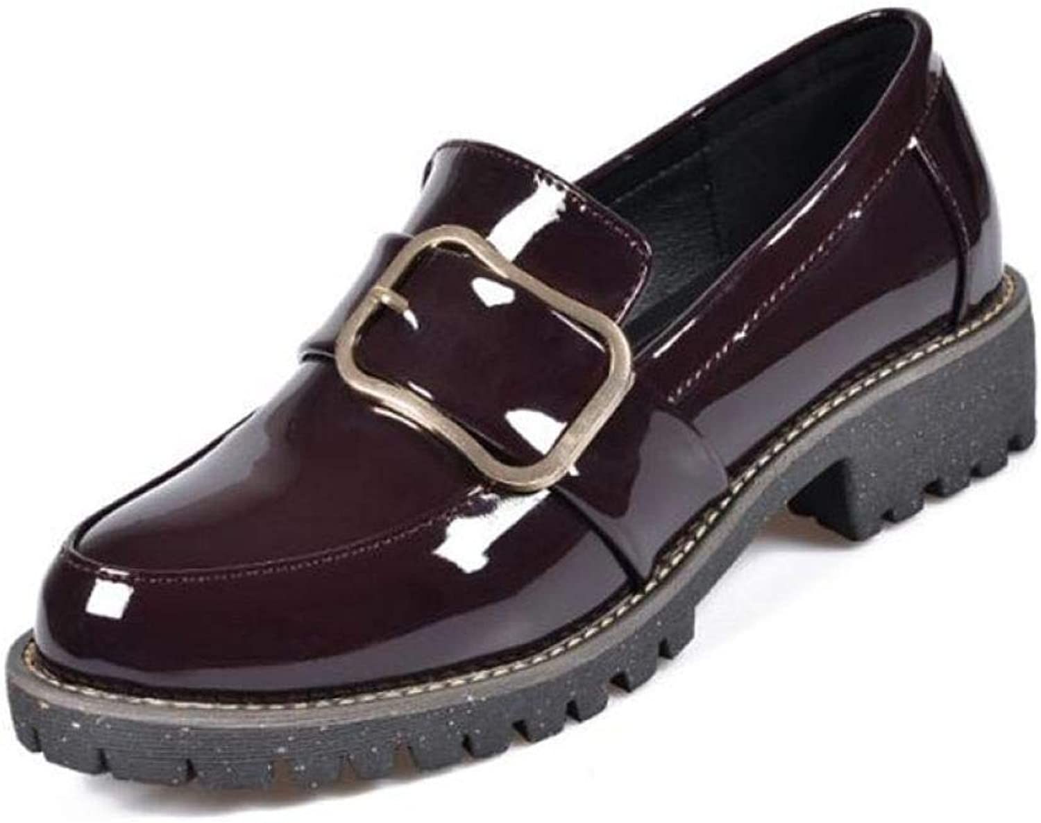 Fay Waters Women's Patent Leather Buckle Loafer shoes Low Heel Round Toe Slip On Casual Oxfords