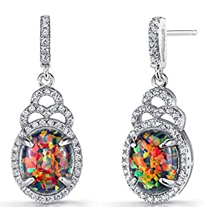 Peora Created Black Fire Opal Earrings in Sterling Silver, Harlequin Halo Dangle Design, Oval Shape, 10x8mm, 3.00 Carats total, Friction Backs