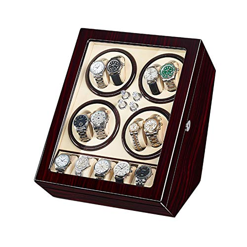 GUOYUN Caja Enrolladora Reloj Automática para 8 Relojes + 5 Almacenamiento 5 Modo Rotación Motor Silencioso Caja Reloj Madera (Color : C)