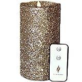 Luminara Vintage Champagne Glitter 7' Flameless Pillar Candles w/Remote