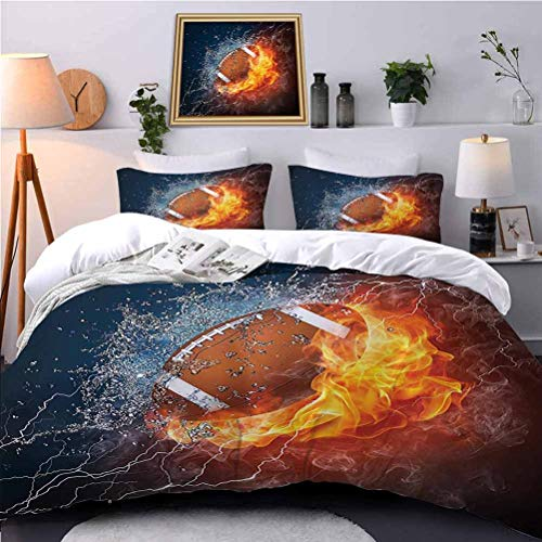 UNOSEKS LANZON Duvet Cover Ball Fire and Water Flame Splashing Thunder Lightning Abstract Print Bedding Set Pet Hair Has Not Clinging to It - King Size