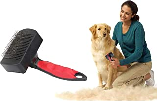 THE DDS STORE Self Cleaning Slicker Brush for Dogs and Cats - Easy to Clean Pet Grooming Brush Removes Mats, Tangles, and ...
