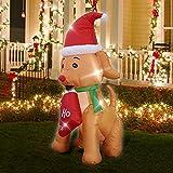 Perro Inflable de Navidad de 1,5 m Alto, Decoración Navidad para Jardín Interior Exterior, Perro Hinchable Luminosos Decoración de Jardín Fiesta Césped Iluminación Navideña Style B AU Plug