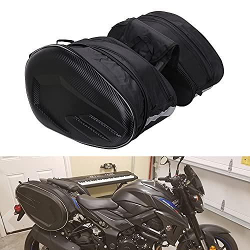 Borse da sella per moto Borse laterali Borsa da sella per bagagli da moto universale impermeabile per viaggio 36L-58L Espandibile nero