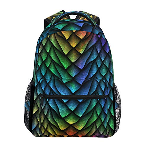 VIKKO Dragon Scales Backpack Students Bookbags Travel Hiking Camping Daypack School Laptop Computer Bag Casual Waterproof Backpack Teenagers School Backpack for Kids Boys Girls