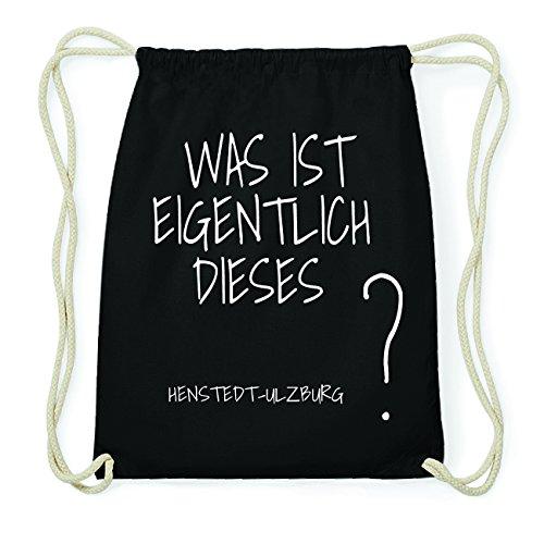 JOllify HENSTEDT-ULZBURG Hipster Turnbeutel Tasche Rucksack aus Baumwolle - Farbe: schwarz – Design: was ist eigentlich - Farbe: schwarz