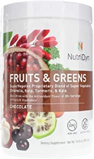 Dynamic Fruits & Greens Chocolate Flavor *Certified Organic* w/ Acai, Gogi, Mangosteen, Noni & Pomegranate Super Fruits 300 Grams (Chocolate) by Nutri-Dyn