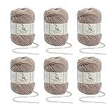 TEHETE Ovillo de lana, Hilados lana merino,6 Bolas x 50g, Hilo para manta,suéter calcetín, bufanda, diy, ganchillo y tejido-Camello
