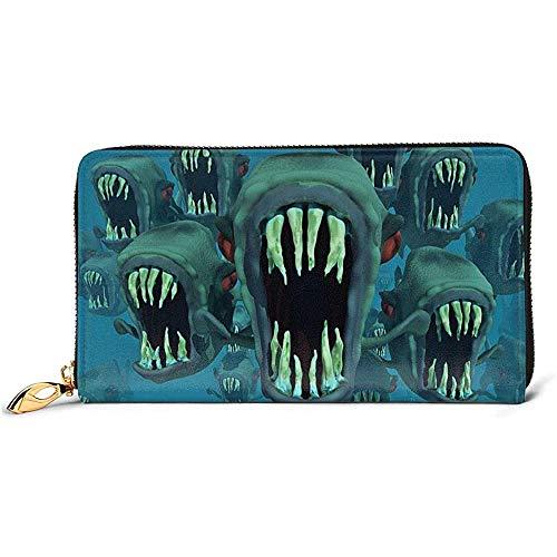 Wallet,Piranhas Fischleder Geldbörse, Bequeme Kreditkartenbeutel Für Party Geschäftsreisen,10.5(W) x19(L) x2.5(T) cm