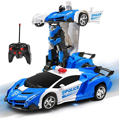 Olabeno RC Car Robot for Kids 2.4GHz Transforming Robot Remote Control Car with One-Button Deformation & Realistic Engine Sounds and 360°Speed Drifting 1:18 Scale Best Gift for Child (White)