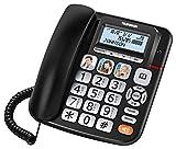 Telefunken TF951 COSI - Telefono fisso con segreteria telefonica per Senior, colore: Nero