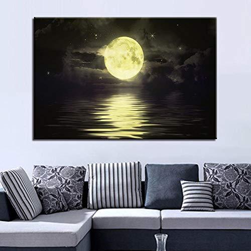 wZUN Póster Pintura en Lienzo HD Imagen de Arte de Pared Luz de Luna Tipo de impresión Arte Retro Decoración del hogar 60x90cm Sin Marco