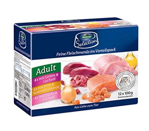 Dehner Premium Multipack Katzenfutter, je 4 x Lamm, Pute & Lachs, im Beutel, 12 x 100 g (1.2 kg)