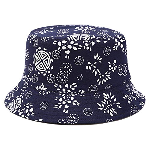 geiqianjiumai nieuwe vishoed mannen en vrouwen retro nationale stijl blauw en wit porselein patroon gedrukt bloempot hoed outdoor trend zonnehoed