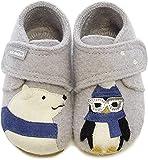 Living Kitzbühel Babyklett. Eisbã¤r & Pinguin mit Brille, Zapatillas de Estar por casa para Bebés, Gris (Hellgrau 0620), 24 EU