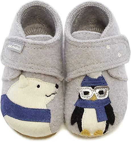 Living Kitzbühel Baby Jungen Babyklett. Eisbär & Pinguin mit Brille Hausschuhe, Grau (hellgrau 0620), 23 EU