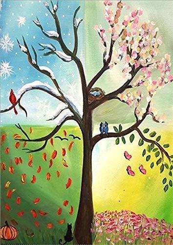 HXLFYM Kunst Diamant Malerei Vier Jahreszeiten Baum Landschaft DIY Diamant Malerei Zubehör Voller Platz Bohrer 5D Stickerei Kreuzstich Mosaik Dekoration (Color : L0015, Size : 40x50cm)