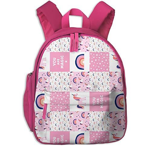 Mochila Infantil niña,Unicorn Patchwork - Pink and Blue (90) _4862 - littlearrowdesign, para Las escuelas Infantiles de Oxford (Rosa)