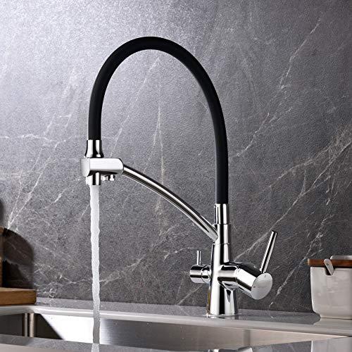 Ibergrif-M22128-2 Osmose-keukenkraan, met flexibele uitloop en dubbele greep, 3-in-1 sproeiapparaat voor waterfilter, keukengootsteen, chroom