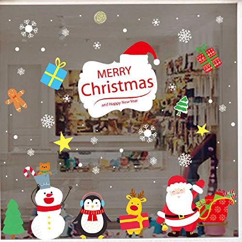 HNIMLL Decoración de Navidad Doble Cara Regalo Ventana Frontal Puerta de Cristal Decorativo Adhesivo de Cristal de la Ventana Se pueden quitar 2 Unidades
