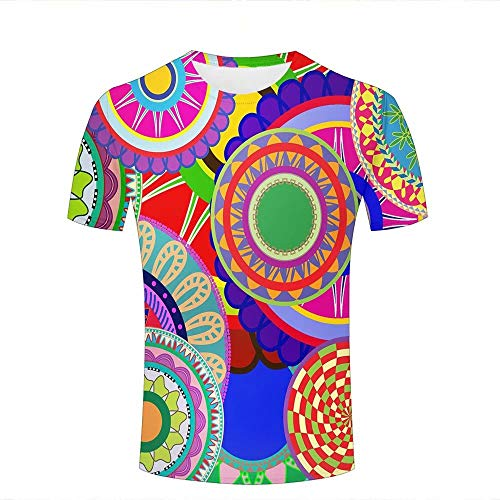 Shuaifa - Camisetas de moda unisex con impresión 3D, diseño de flores geométricas creativas