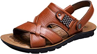 d56dd00ae7c5 Slippers Leather for Men - POHOK Mens Fashion Breathable Leather Beach  Sandals Slides Outdoor Slippers Two