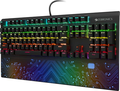 ZEBRONICS Zeb-MAX Chroma Premium Mechanical Gaming Keyboard with 104 Tactile Switch Keys, Wrist Rest, 18 RGB LED Modes, Braided & Gold Plated USB Cable