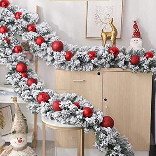 ZHIRCEKE Abeto Guirnalda con los Copos de Nieve decoración Corona de Navidad con Bolas de Colores para la Entrada de la Puerta, escaleras, techos 270cm,C