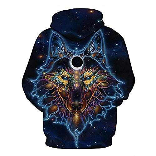 yyqx container Pulls à Capuche d'impression 3D Blue Wolf Totem Outdoor Couples Sweatshirts avec Kangaroo Pocket-L