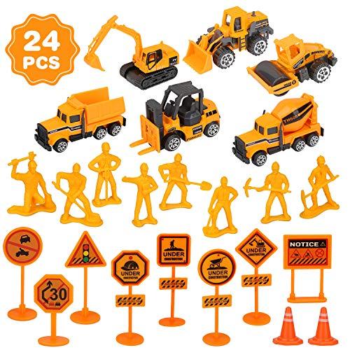 Baufahrzeuge Spielzeug, 24 Stück Mini Legierung Bagger Straße Zeichen, Spielzeugautos Kinder Spielzeug Geschenk Für Kindertag, Ostern, Weihnachten, Geburtstag