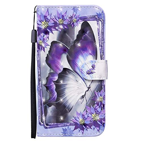 TTNAO Compatible with Samsung Galaxy A72(5G) Case+1*Hand Strap 3D Visual Magnetic Leather Flip Stand Card Holder Protective Cover(Butterfly)