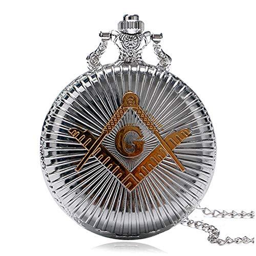 HELBOD Reloj de Bolsillo Populares Hombres Retro Reloj de Bolsillo de Plata de Cuarzo patrón de albañil Vintage Colgante de Regalo Mujeres Collar de Cadena, Plata
