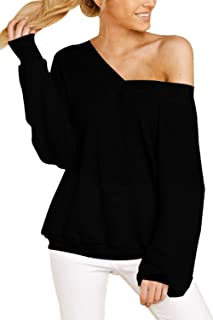 Sovoyontee Women's Oversized Off The Shoulder Waffle Knit Shirt Long Sleeve V Neck Blouse Tunic Tops