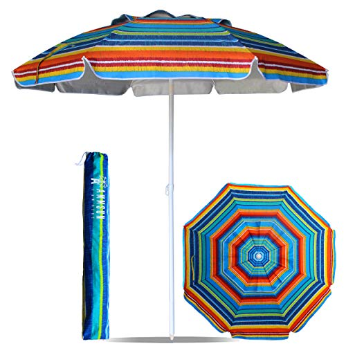 AMMSUN 6.5 Ft Outdoor Patio Beach Umbrella Sun Shelter with Tilt and Carry Bag UPF 50+ Multicolor Red Blue