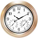 Infinity Instruments Churchill 18 inch Outdoor Waterproof Weatherproof Large Wall Clock for Patio Decor Thermometer Hygrometer Clock Combo Arabic Numbers (Copper)