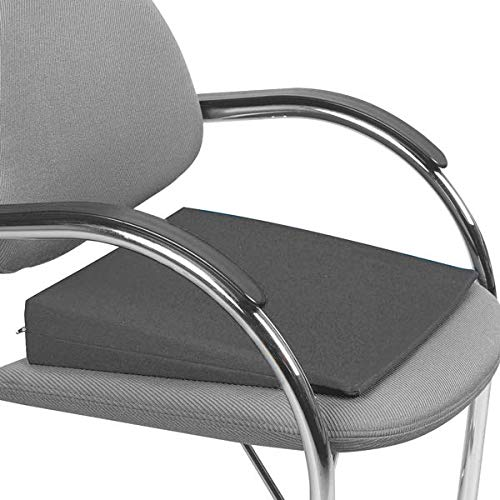 Keilkissen orthopädisch Baumwollbezug abnehmbar abwaschbar - Sitzkissen Büro Zuhause Stuhl Sofa Auto Bett Rollstuhl Scooter Rücken Stuhlkissen Sitzkeil Baumwolle (Schwarz)