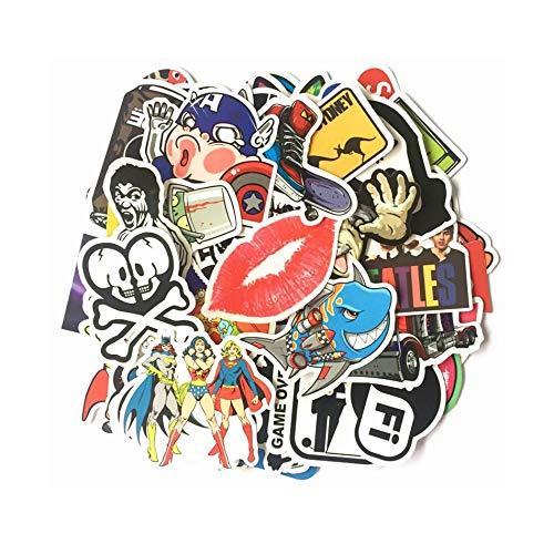 PMSMT 50 unids/Pack Mixto Pop Hip Hop Dibujos Animados Pegatinas de PVC a Prueba de Agua para Caja de Amplificador de batería de bajo