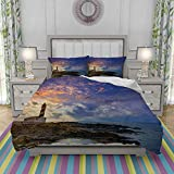MOONLIT Edredon- Ropa de Cama,Cap de Favaritx Sunset Lighthouse Cape in Mahon at Balearic Islands of Spain Coast,Microfibra,Edredon 140x200cm y 2 Fundas de Almohada 50x80cm