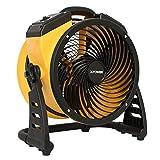 XPOWER FC-100 Pro Air Circulator, Carpet Dryer, Floor Fan, Blower - 11' Diameter Multipurpose Heavy-Duty Portable Shop, Office, Classroom, Home Fan- Yellow