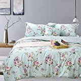 FADFAY French Country Farmhouse Bedding Fashionable Hydrangea and Rose Floral Chic Duvet Cover Set 100% Cotton Hypoallergenic with Hidden Zipper Closure,King/California King Size 3-Pieces