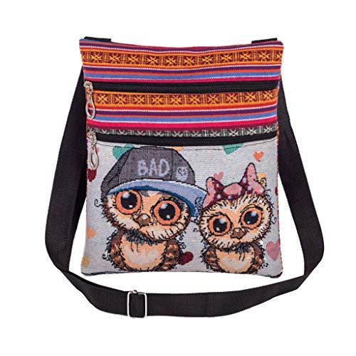 DQANIU Gestickte Eule Einkaufstaschen Frauen Umhängetasche Handtaschen Briefträger Paket Telefon Umhängetasche