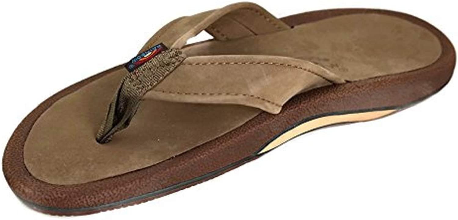 Rainbow Navigator - Men's Dark Brown Orthopedic Foot Bed with Arch Leather Top Tapered Strap Flip Flop Sandals - SIZE 8