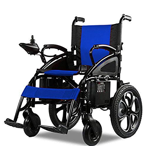 Mobility Scooter Wheelchair Electric Power Motorized Wheel Chair Portable Folding Lightweight Power Wheel Chair (Blue)