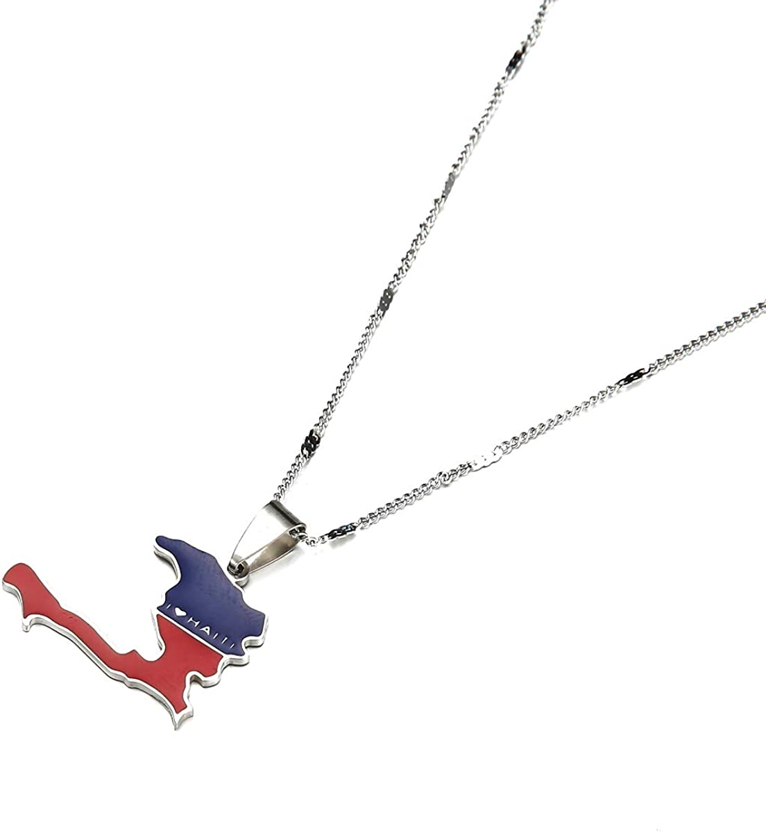Stainless Steel Enamel The Republic of Haiti Map Pendant Necklace Trendy Port-AU-Prince Map Chain Jewelry